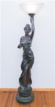 Sale 8338A - Lot 84 - A resin figural uplight, of a scantily clad lady, total H 178cm
