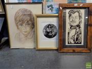 Sale 8407T - Lot 2032 - Framed Silver Gelatine Photography Harem, signed Michael Berkowitz with 2 Others incl Egon Hugh Pastel & Mark Kaiser Caricature