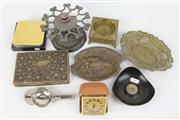 Sale 8417 - Lot 12 - Art Nouveau Style Greyhound Motif Dish with Other Metal Wares incl. Smokers Paraphernalia