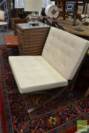 Sale 8480 - Lot 1156 - Two Barcelona Style Chairs in Cream & Brown