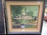 Sale 8663 - Lot 2029 - Artist Unknown - Forrest River Scene, oil on board, 48.5 x 58.5cm (frame size), unsigned