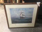 Sale 8707 - Lot 2005 - John Allcot - H. M Bark Endeavour, framed limited edition art print, frame 81 x 93cm