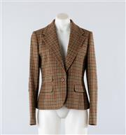 Sale 8760F - Lot 42 - A Ralph Lauren equestrian-style houndstooth wool blazer/jacket with brown suede elbow patches, size 8