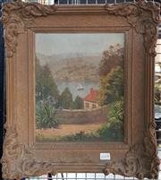 Sale 8789 - Lot 2100A - M Ferrier Jagger Bay View from Residence oil on board, 43 x 38cm, signed lower left -