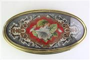 Sale 8855D - Lot 657 - Victorian Tapestry Embrassed Framed Tea Table Raised on Claw Feet (L60cm W32cm)