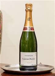 Sale 8882H - Lot 14 - A bottle of Laurent Perrier champagne presented on small EP tray
