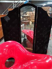 Sale 8889 - Lot 1100 - Fabric Three Panel Screen With Mirror
