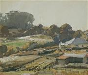 Sale 8929 - Lot 554 - Robert Johnson (1890 - 1964) - Overlooking the Farm, NSW 18.5 x 22 cm