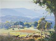 Sale 9067 - Lot 529 - Ernest Buckmaster (1897-1968) - Sheep Pasture & Valley Landscape 54.5 x 74.5 cm (frame: 70 x 92 x 5 cm)