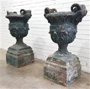 Sale 9068 - Lot 1001 - Pair of Large & Impressive Terracotta Urns, with old green painted finish, the body with applied acanthus leaves & having Satyr form...