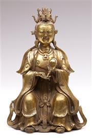 Sale 9078 - Lot 40 - A Gilt Metal Chinese Buddha H: 29cm