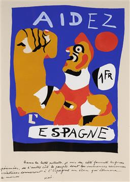 Sale 9141 - Lot 575 - Joan Miro (1893 - 1983) Aidez Espagna colour lithograph 31 x 22 cm (frame: 56 x 45 x 4 cm) signed in plate