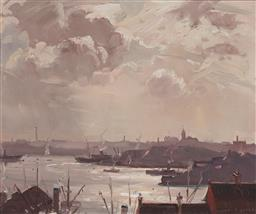 Sale 9161 - Lot 518 - JAMES RANALPH JACKSON (1882 - 1975) Evening Sky, Sydney oil on canvas board 35 x 43 cm (frame: 52 x 60 x 4 cm) signed lower right. P...