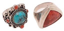 Sale 9246J - Lot 329 - TWO SILVER STONE SET RINGS; one set with a faux turquoise and 4 coral beads on 26mm wide scrolling mount with butterfly shoulders an...