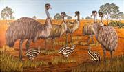 Sale 8338A - Lot 85 - C Hawkins - Emus & Chicks, 84 170 x 290cm