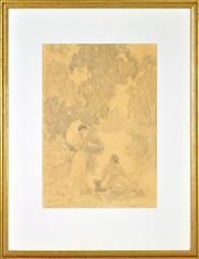 Sale 8344 - Lot 568 - Norman Lindsay (1879 - 1969) - Conversation, c1937 40 x 28cm