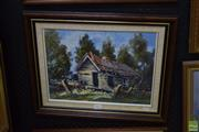 Sale 8569 - Lot 2042 - Alan Grosvenor (1925 - ) Sawmillers Cottage, Kunama, oil on canvas board, 29 x 39.5cm, signed lower right