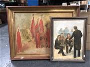 Sale 8789 - Lot 2149 - 2 Works: Hana Juskovic - Musicians, oil on board, 46 x 36cm, signed lower left & Hana Juskovic - Figures in Red, oil on board (A...