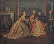 Sale 8838 - Lot 557 - Adolf Manfred Trautschold (1854 - ?) - An C18th Salon Scene 62 x 75cm