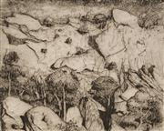 Sale 8892 - Lot 507 - Lloyd Rees (1895 - 1988) - Cliff Face, Central Australia 20 x 24.5 cm