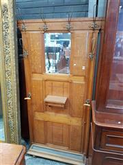 Sale 8917 - Lot 1097 - French Art Deco Oak Hallstand, with mirror, small glove box & umbrella tray