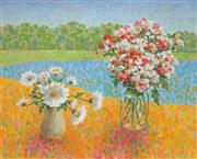 Sale 8980A - Lot 5015 - Una Foster (1912 - 1996) - Flowers In A Landscape 60 x 75 cm (frame: 68 x 82 x 3cm)