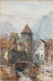 Sale 9067 - Lot 554 - John Skinner Prout (1805 - 1876) - St. Goar 33.5 x 21.5 cm (frame: 76 x 60 x 4 cm)