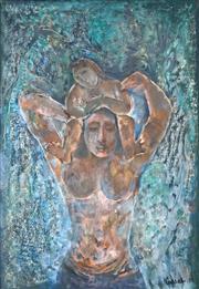 Sale 9067 - Lot 521 - Judy Cassab (1920 - 2015) - Mother & Child, 1974 53 x 47 cm (frame: 74 x 54 x 3 cm)