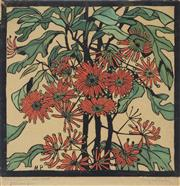Sale 9042A - Lot 5037 - Margaret Preston (1875 - 1963) - Wheel Flower 36 x 36 cm (frame: 67 x 67 x 3 cm)