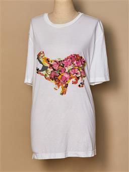 Sale 9093F - Lot 98 - A Lanvin White cotton t shirt with floral hippo on the front, size XL