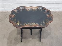 Sale 9126 - Lot 1064 - Victorian Ebonised Papier Mache Tray-Table, the tray top painted with flowers and gilt trellis to the borders, on a later folding ba...