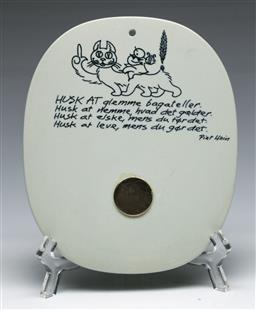 Sale 9148 - Lot 80 - A Royal Copenhagen Fajance Piet Hein 101-3713 Remember that forget trifles plaque 1954, (H:16.5cm)