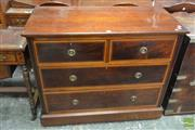 Sale 8500 - Lot 1070 - Late Victorian Mahogany and Satinwood Banded Chest of Four Drawers on Plinth Base with Lable W Whiteley of London
