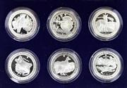 Sale 8679 - Lot 324 - BOXED SET OF SIX COMMEMORATIVE ONE OUNCE PROOF SILVER COINS; Isle of Man Crowns commemorating Centenary of Australia 1788 - 1988.