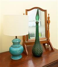 Sale 8735 - Lot 62 - A dressing table mirror together with a pottery lamp and a retro green glass stoppered decanter, H x 60cm
