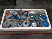 Sale 8724 - Lot 1042 - Nine Pairs of Split Polished Agates