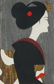 Sale 8870A - Lot 585 - Kiyoshi Saito (1907 - 1997) - Profile of a Woman 38.5 x 25 cm
