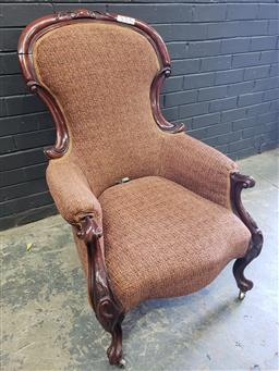 Sale 9063 - Lot 1086 - Victorian Mahogany Grandfather Chair (H101 x W67 x D67cm)