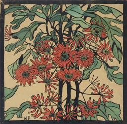 Sale 9096A - Lot 5083 - Margaret Preston (1875 - 1963) - Wheel Flower 36 x 36 cm (frame: 67 x 67 x 3 cm)