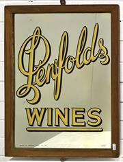Sale 9092 - Lot 1007 - Early PENFOLDS WINE  timber framed bar mirror by M Rousel (h:61 x w:46cm)