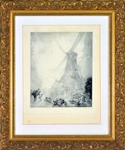 Sale 8363 - Lot 535 - Norman Lindsay (1879 - 1969) - The Windmill, 1924 31.5 x 26cm