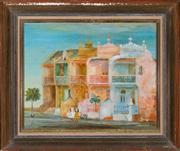 Sale 8379A - Lot 18 - Cedric Flower - Paddington terrace with two girls 35 x 42cm