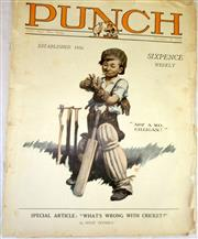 "Sale 8460C - Lot 48 - Punch Vol 1 No. 1 December 18, 1924. Newspaper front cover ""ARF, a Mo Gilligan"". Page 6 and 7. What's wrong with Cricket by Hugh Tru..."