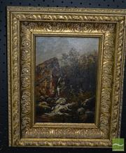Sale 8522 - Lot 2008 - Artist Unknown (19th Century) Cottage and Watermill, oil on canvas, 24 x 16.5cm,  unsigned