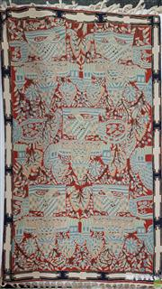 Sale 8601 - Lot 1556 - Probably Kashmiri Silk Panel Of Cottages In Gardeners (150 x 87cm)
