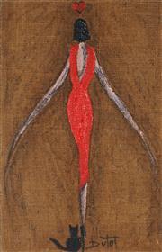 Sale 8867A - Lot 5002 - Bruno Dutot (1962 - ) - Red Dress 55.5 x 35 cm