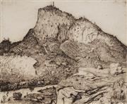 Sale 8892 - Lot 508 - Lloyd Rees (1895 - 1988) - View of Tasmanian Mountain 20 x 24.5 cm