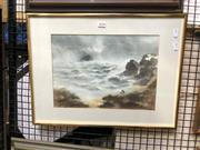 Sale 8903 - Lot 2038 - Robert Emerson Curtis Figures and the Tempest Storm, watercolour 40 x 52cm, signed