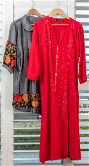 Sale 9023H - Lot 97 - A Cotton jacket with flower embroidery to sleeve, size L together with a bright red dress by Sahahrian Merez size L