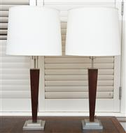 Sale 9081H - Lot 16 - A pair of table lamps with white linen shades over rectangular timber bases, Total Height 84cm